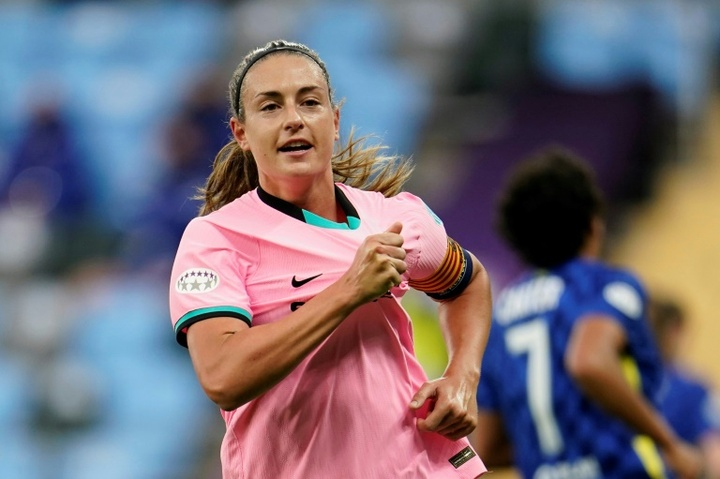 Alexia Putellas scored as Barca thumped Chelsea in the Women's CL final. AFP