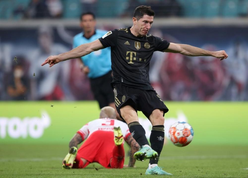 Robert Lewandowski scored as Bayern won 1-4 at Leipzig. AFP