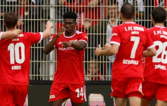 Union Berlins Nigerian striker Taiwo Awoniyi celebrates his goal on Sunday. AFP