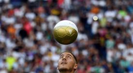 Hazard was unveiled at the Bernabéu on Thursday evening. AFP