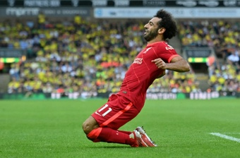 Mohamed Salah scored as Liverpool won 0-3 at Norwich. AFP