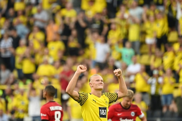 Erling Haaland was the star of the show against Frankfurt. AFP