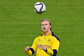 Dortmund are hoping star man Erling Haaland will be fit for the DFB Pokal final. AFP