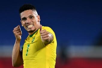 Paulinho's controversial celebration. AFP