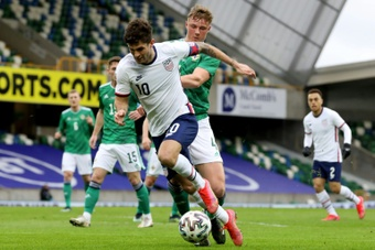 Christian Pulisic (C) scored in USA's win over NI. AFP