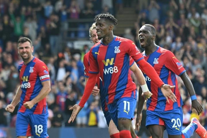 Wilfried Zaha (C) scored as Palace beat Tottenham. AFP