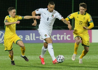 Italy got a 0-2 victory over Lithuania in World Cup qualifying. AFP