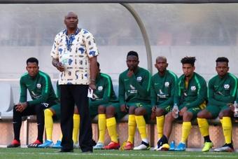 Molefi Ntseki (standing) was sacked on Wednesday as South Africa coach. AFP