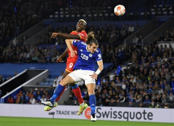 Osimhen scores a brace to get Napoli a draw in Leicester. AFP