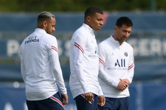 Neymar, Kylian Mbappe and Lionel Messi training on Saturday ahead of a visit to Reims. AFP