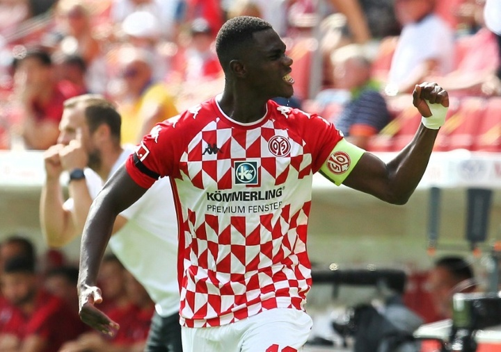 Mainz captain Niakhate was on target against Leipzig. AFP