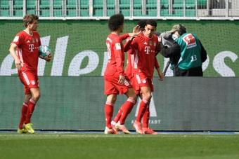 Jamal Musiala scored twice in Bayern's 3-2 win at Wolfsburg. AFP