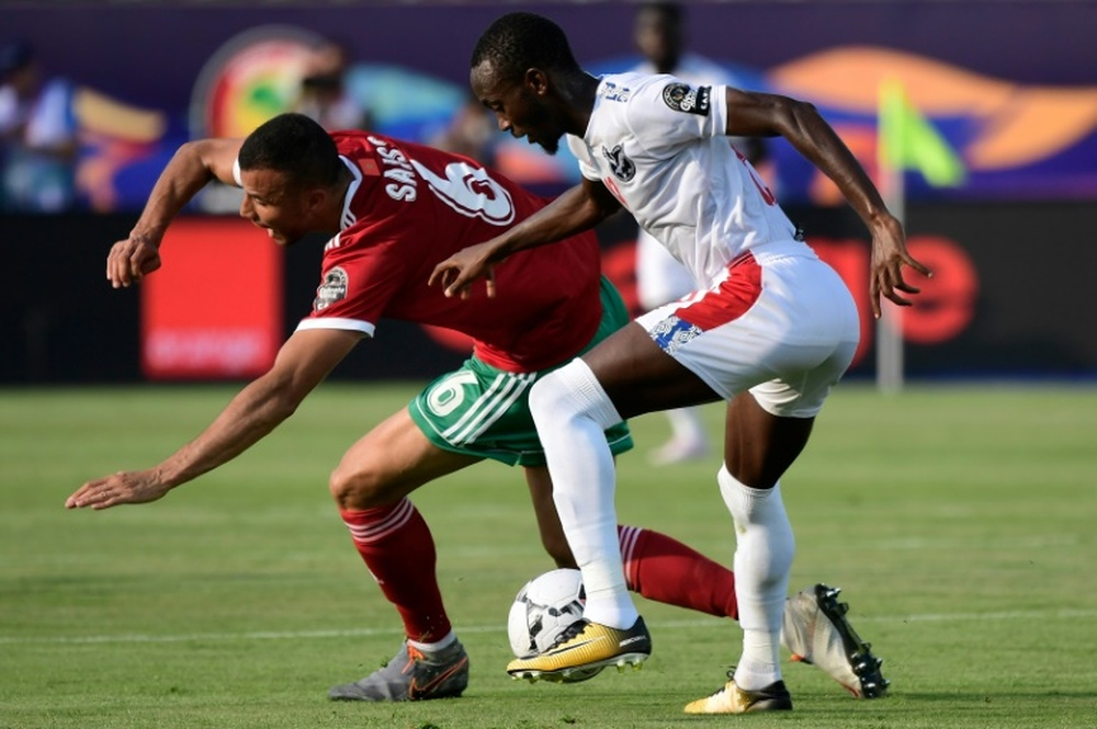 Mamelodi Sundowns match-winner Peter Shalulile (R) playing for Namibia. AFP