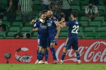 A goal from Dani Carvajal (L) sent Real Madrid top of La Liga. AFP