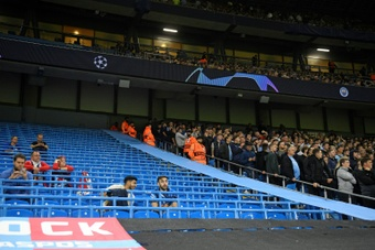 Pep Guardiola was frustrated by the attendance for Manchester Citys 6-3 win over RB Leipzig. AFP