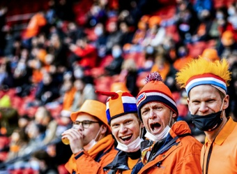 Supporters were allowed in to watch the Netherlands beat Latvia. AFP
