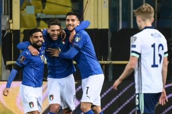 Domenico Berardi (2L) scored as Italy beat Northern Ireland 2-0. AFP