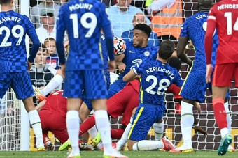 Chelsea's Reece James was sent-off for handling on the line. AFP