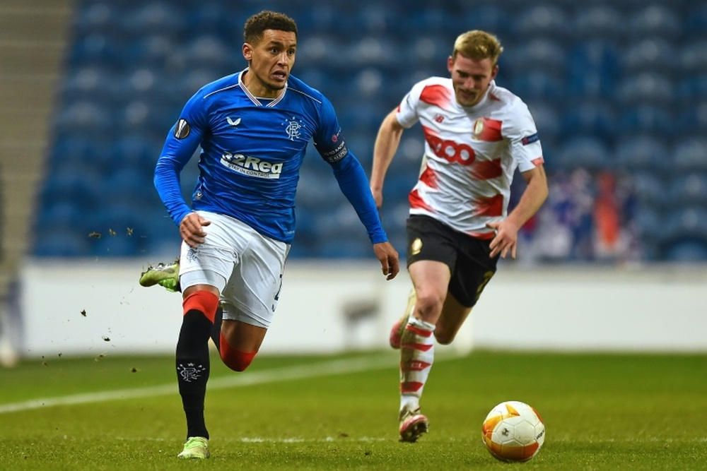 Tavernier takes Rangers to the top of the league. AFP
