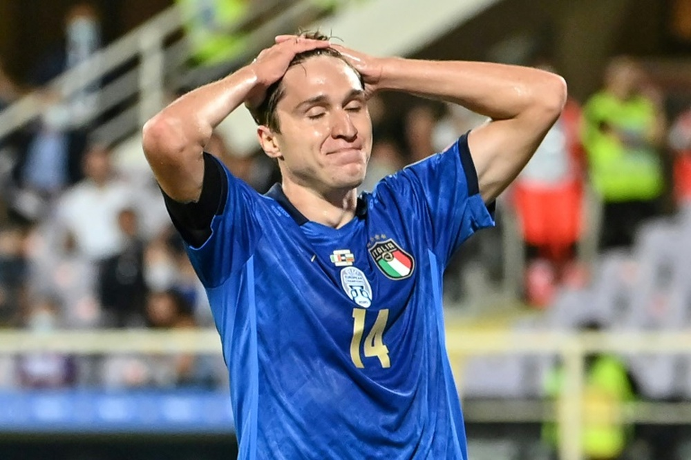 Chiesa scored but couldnt help Italy to a win over Bulgaria. AFP