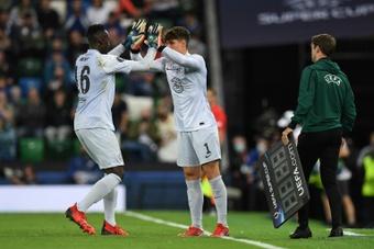 Chelsea goalkeeper Kepa Arrizabalaga and Edouard Mendy. AFP