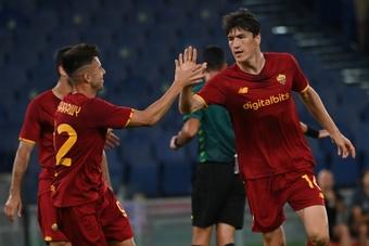 Eldor Shomurodov scored as Roma won 1-2 at Trabzonspor. AFP