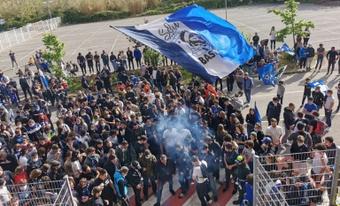 Rassemblement de supporters bastiais à Furiani pour fêter la L2. AFP