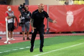 Jorge Sampaoli lors de la rencontre de Ligue 1. AFP