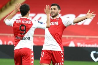 Kevin Volland et Wissam Ben Yedder pendant la rencontre entre Monaco et Nimes. AFP