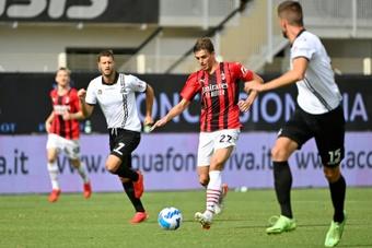 Daniel Maldini face à la Spezia. AFP