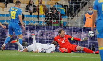 Ucrania y Francia empataron. EFE/Sergey Dolzhenko