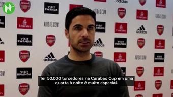 Arteta elogia torcida em classificação do Arsenal na Carabao Cup. DUGOUT