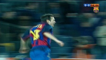 Andres Iniesta got his first Barca goal in January 2004. DUGOUT