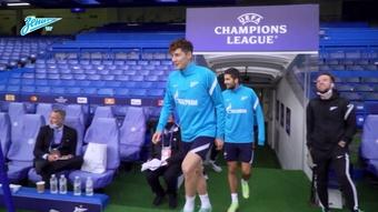 L'entrainement du Zenith à Stamford Bridge. Dugout