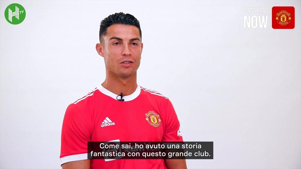 Le prime parole di Ronaldo da giocatore dello United. Dugout