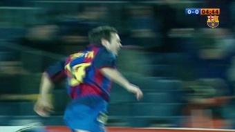 Il primo gol di Iniesta con il Barcellona. Dugout
