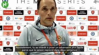Thomas Tuchel s'exprime après la victoire en amical contre Arsenal. Dugout