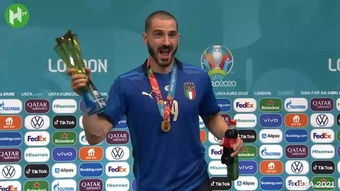 Leonardo Bonucci was delighted after Italy beat England. DUGOUT