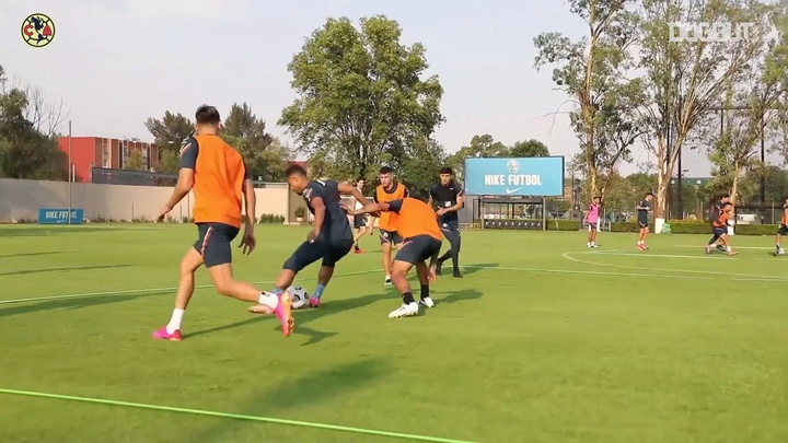 Club America have been preparing ahead of the second leg v Portland. DUGOUT