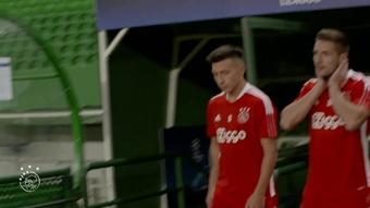 L'entrainement de l'Ajax à Lisbonne. dugout
