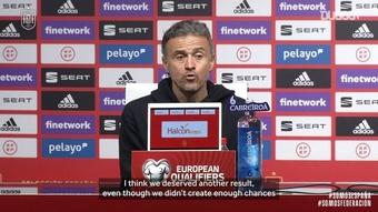 Luis Enrique spoke after Spain drew 1-1 with Greece. DUGOUT