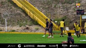 Barcelona SC se entrena pensando en la semifinal ante Flamengo. Captura/DUGOUT
