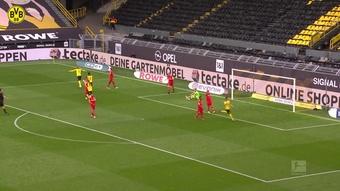 Le doublé d'Erling Haaland contre Leverkusen. Dugout