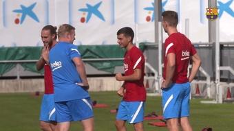 Primeiro treino de Luuk de Jong no Barcelona. DUGOUT
