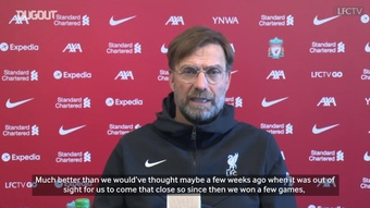 Jurgen Klopp looks ahead to Liverpool's crucial clash against Burnley on Wednesday. DUGOUT