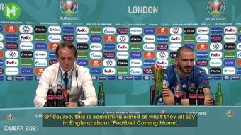 Leonardo Bonucci was delighted after Italy won the Euros. DUGOUT