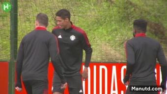 L'entrainement de Raphaël Varane avec Manchester United. Dugout