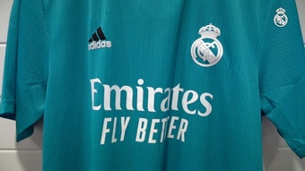 Real Madrid's 2021-22 third kit is emerald green with black and white details. DUGOUT