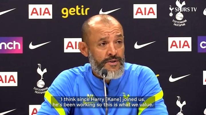 Nuno Espirito Santo is very happy Harry Kane is staying at Tottenham. DUGOUT