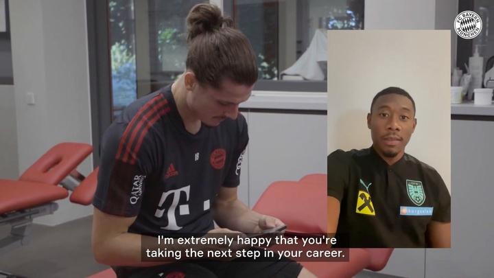 David Alaba congratulates Sabitzer after signing for Bayern. DUGOUT